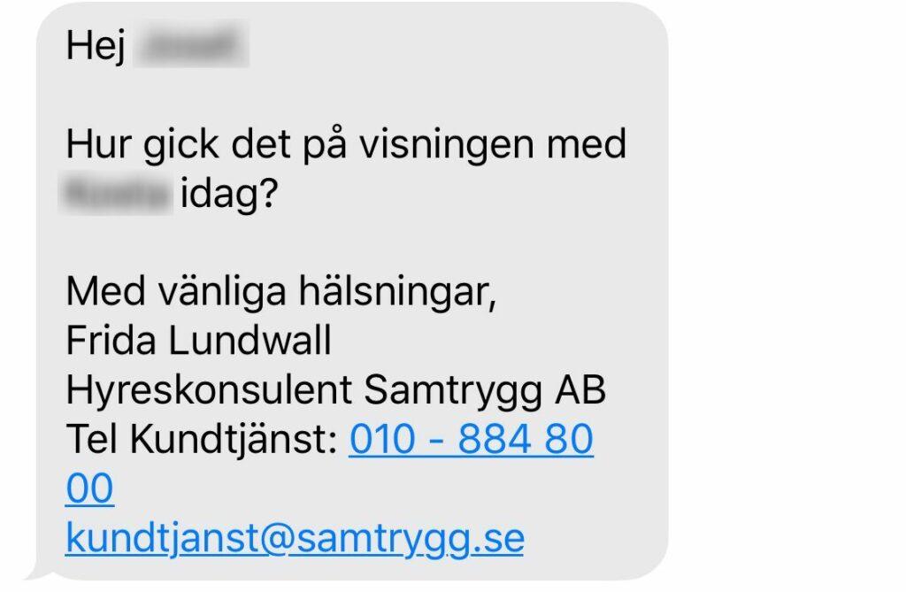 SMS från samtrygg av uppföljning efter visning